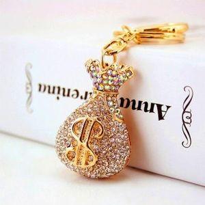 Gold Tone Holochrome Crystal Money Bag & Purse Tag